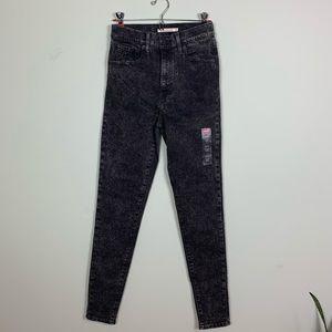 Levi's Mile High Super Skinny Black Acid Wash Jean